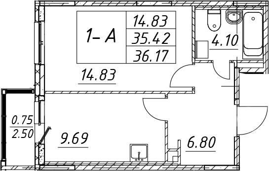 1-к.кв, 37.92 м²