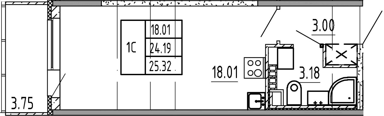 Студия, 24.19 м²– 2
