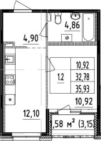1-к.кв, 32.78 м²