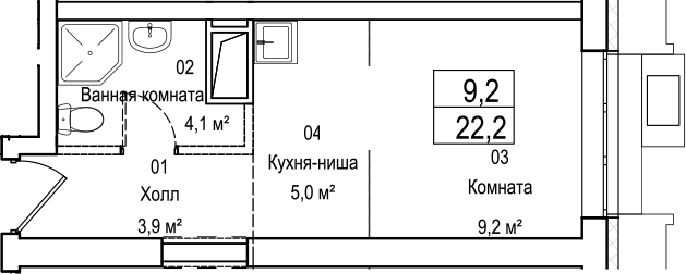 Студия, 22.2 м²– 2