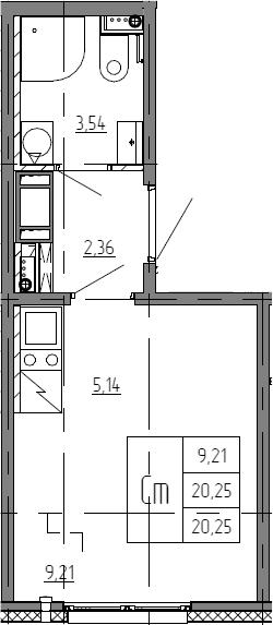 Студия, 20.25 м²