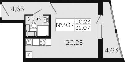 Студия, 36.7 м²