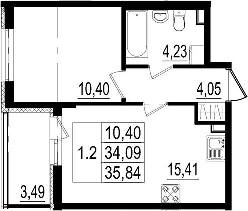 2Е-комнатная, 34.09 м²– 2