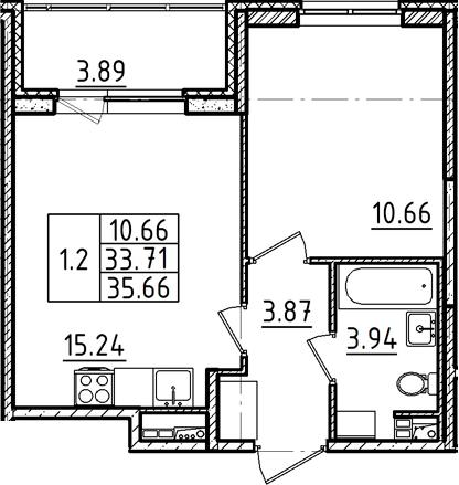 2Е-к.кв, 35.66 м²