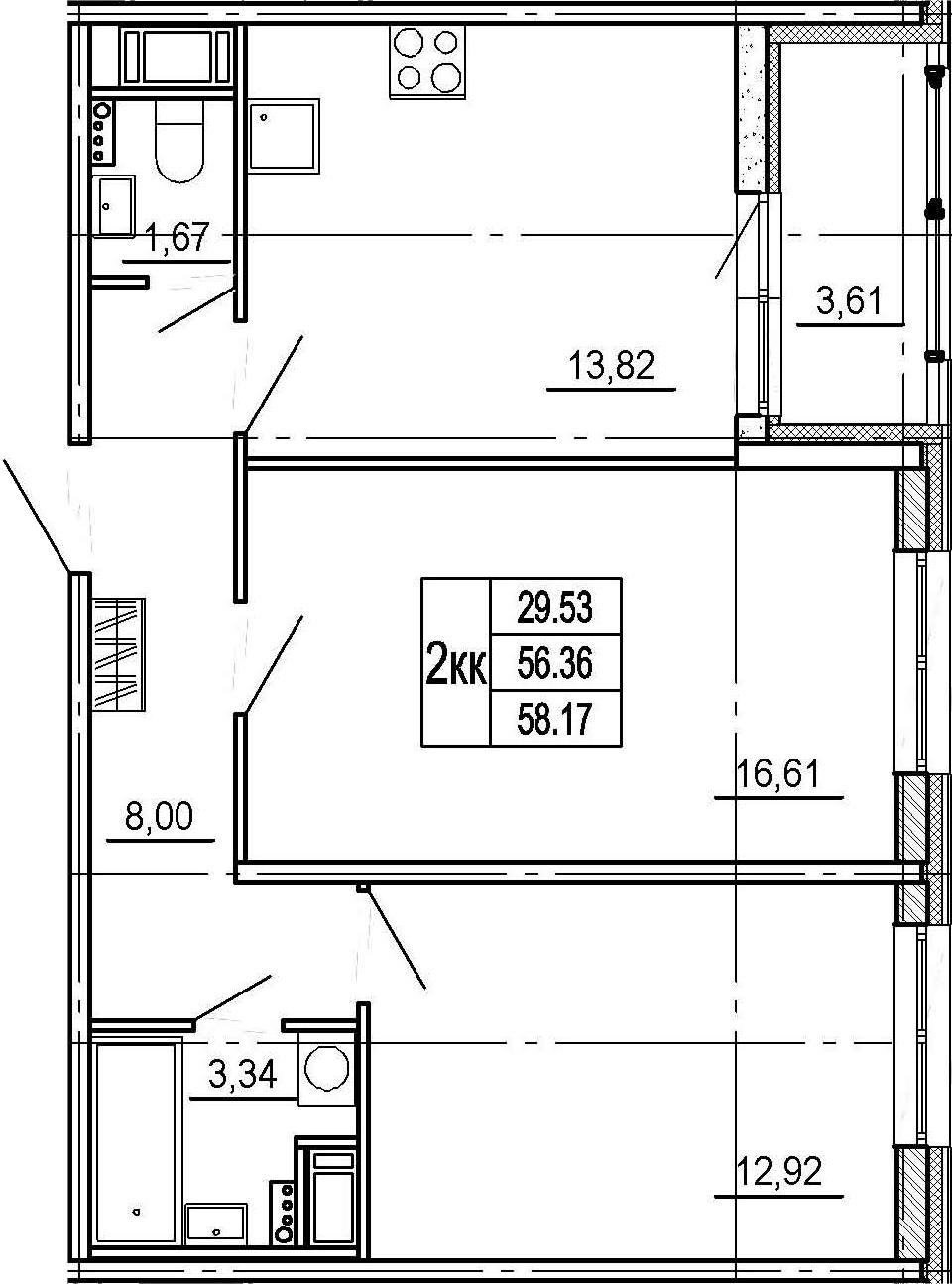 2-комнатная, 56.36 м²– 2