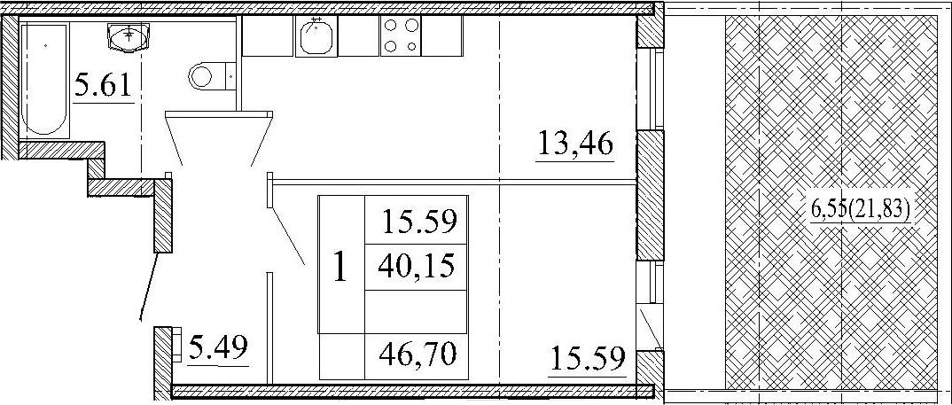 1-к.кв, 61.98 м²
