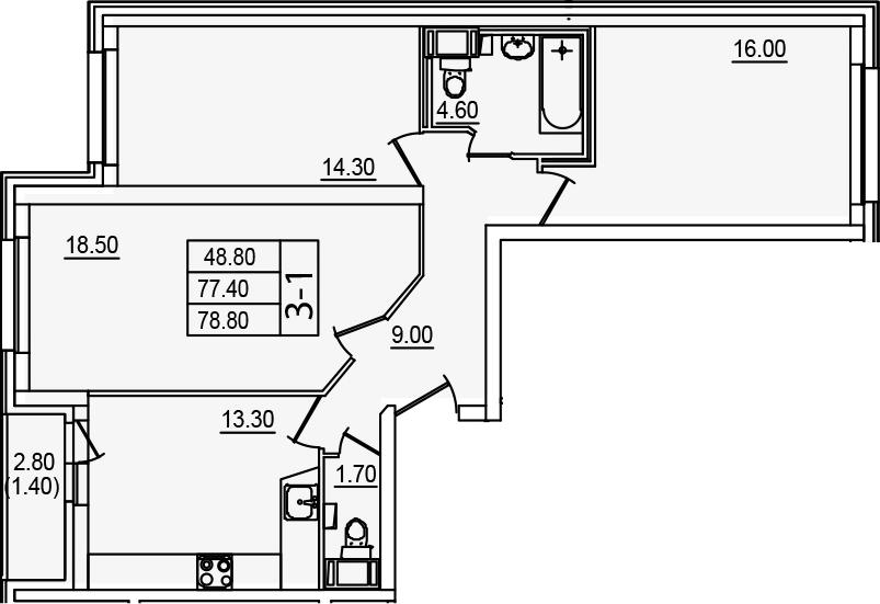 3-комнатная, 78.8 м²– 2