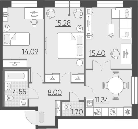 3-к.кв (евро), 70.36 м²