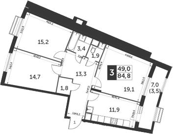 3-к.кв, 84.8 м², 1 этаж