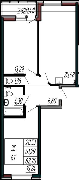 3-к.кв (евро), 64.11 м²