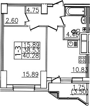 1-комнатная, 40.28 м²– 2