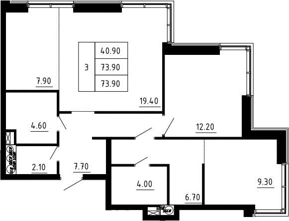 3Е-к.кв, 73.9 м², 9 этаж