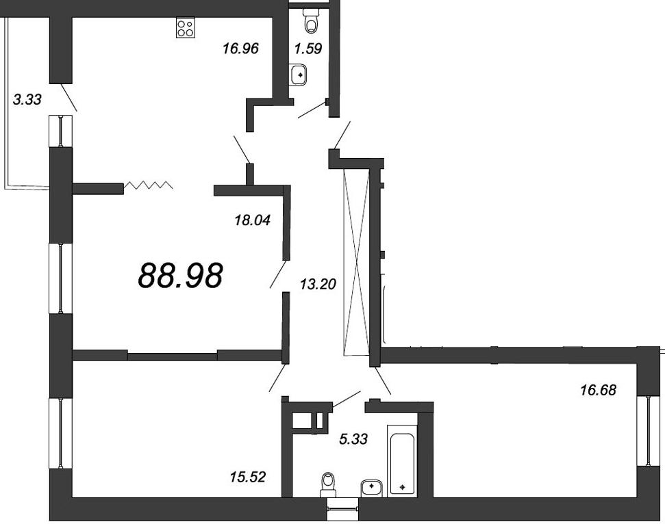 3-к.кв, 91.55 м²