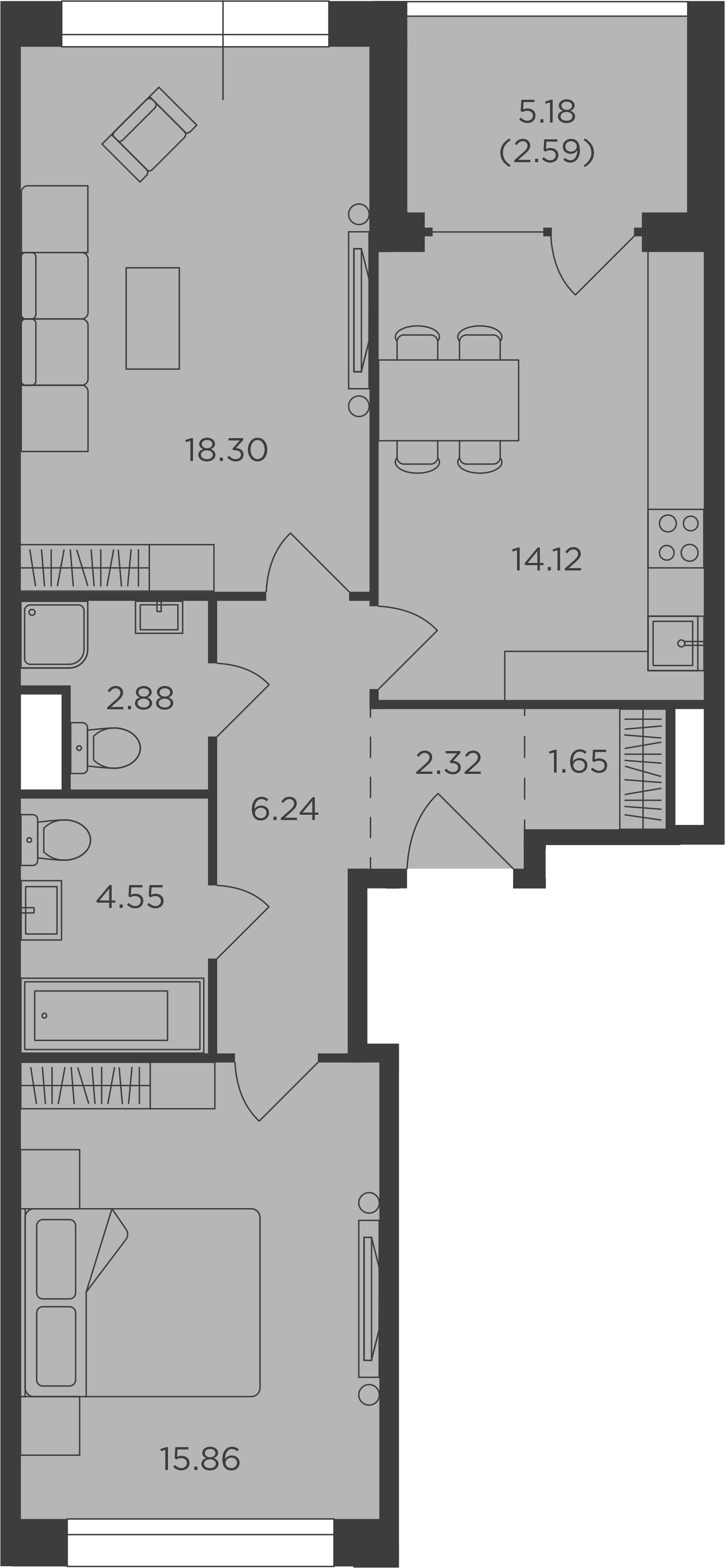 2-комнатная, 68.51 м²– 2