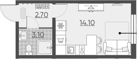 Студия, 19.9 м²