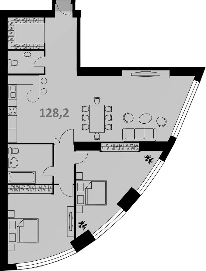 Своб. план., 128 м², от 37 этажа