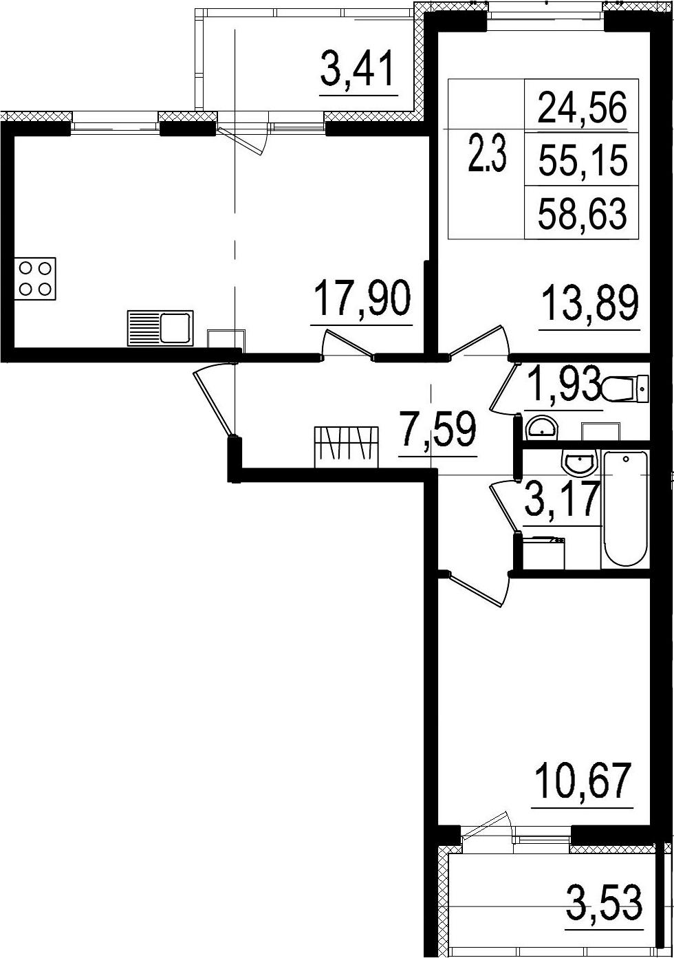 3-к.кв (евро), 62.09 м²