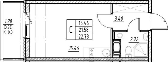 Студия, 21.58 м²– 2
