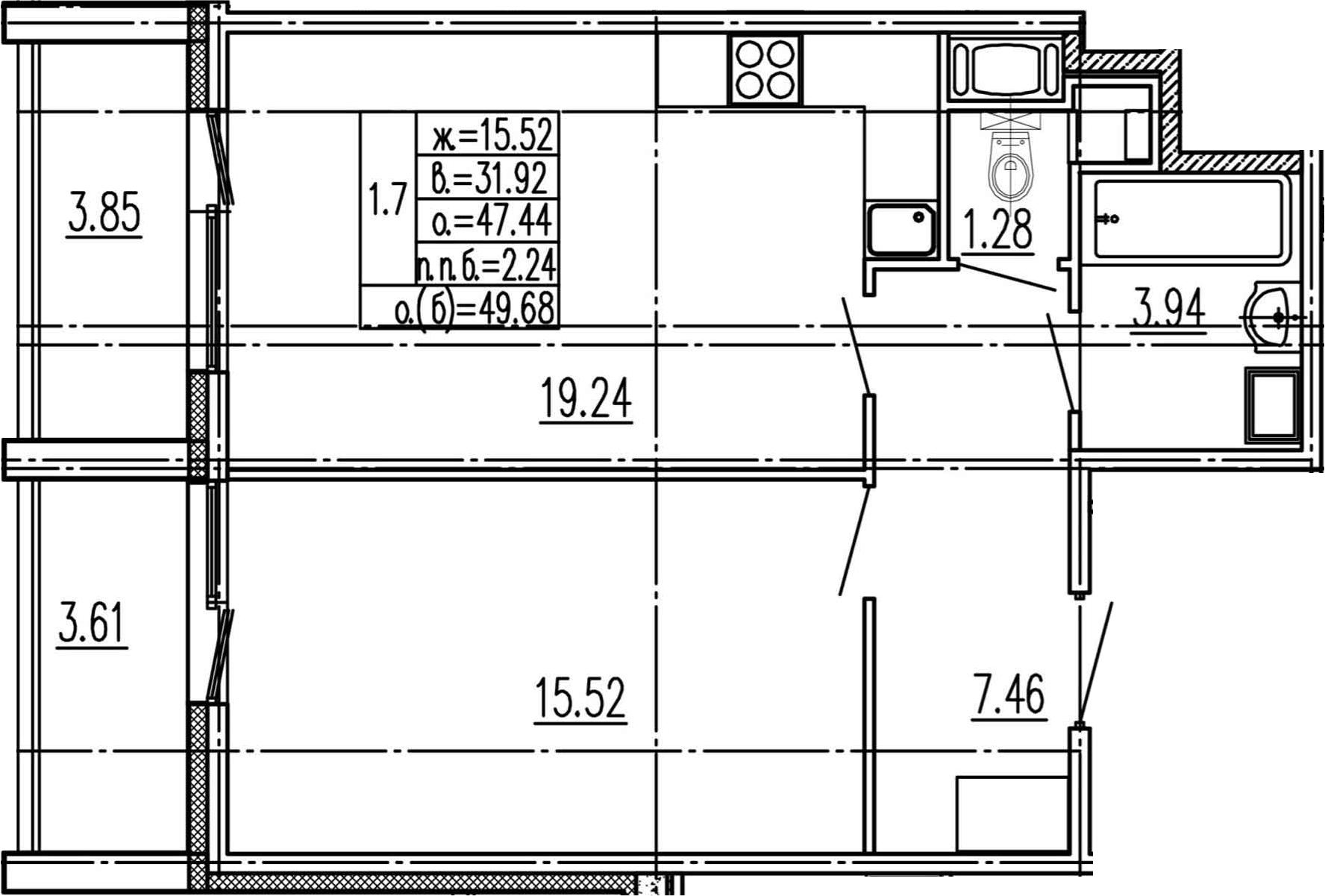 2Е-комнатная, 47.44 м²– 2