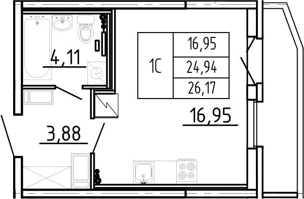 Студия, 26.17 м²