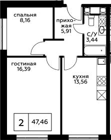2-к.кв, 47.46 м²