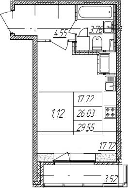 Студия, 29.55 м²