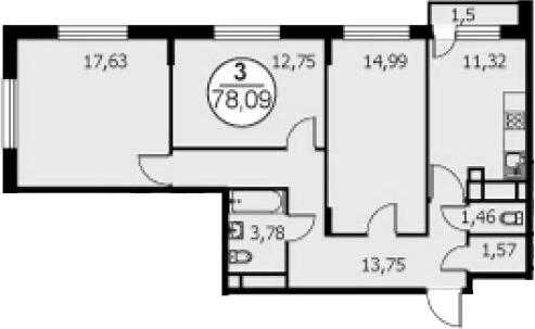 3-к.кв, 78.84 м²