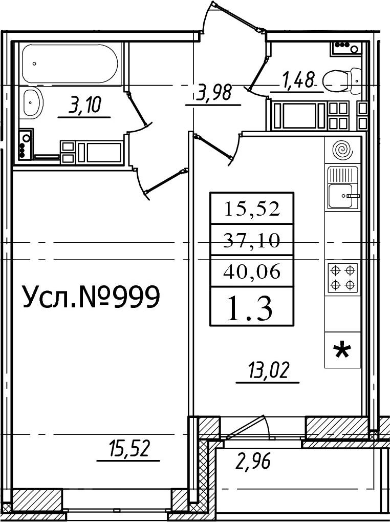 1-к.кв, 37.1 м², 17 этаж