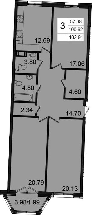 3-комнатная, 102.91 м²– 2