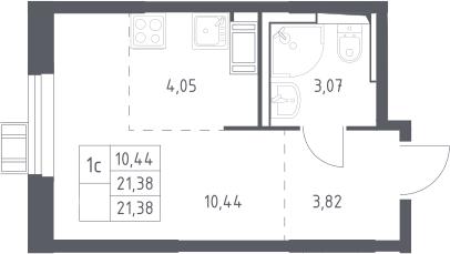 Студия, 21.38 м², 17 этаж