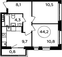 2-комнатная, 44.2 м²– 2