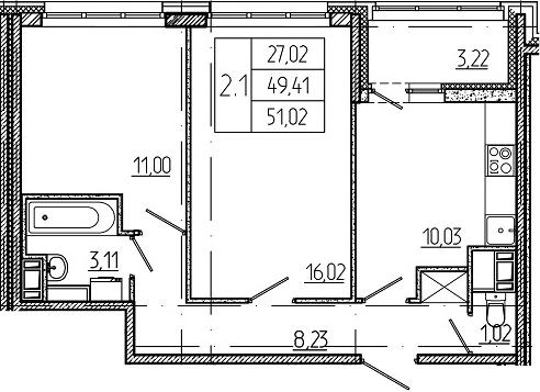 2-к.кв, 52.63 м²