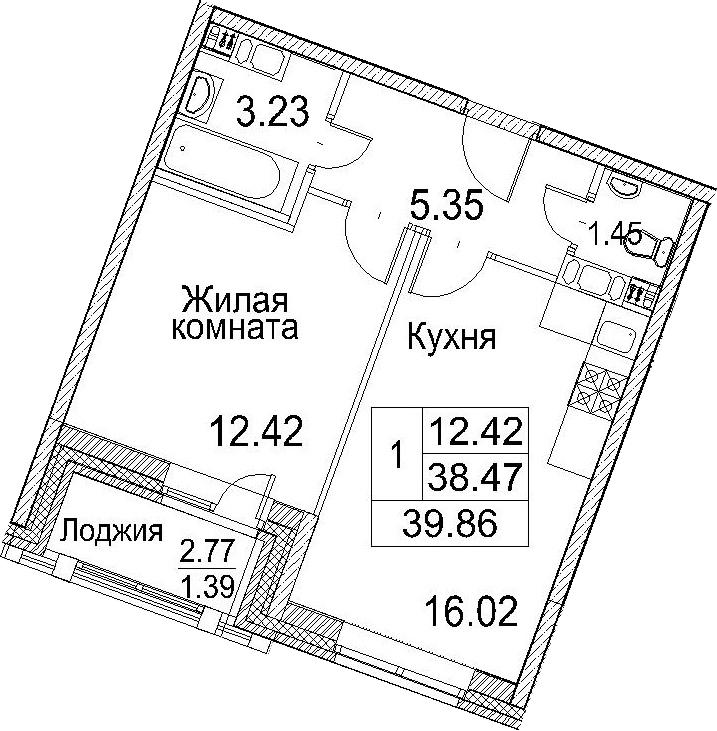 2Е-к.кв, 39.86 м²
