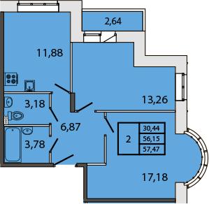 2-к.кв, 58.42 м²