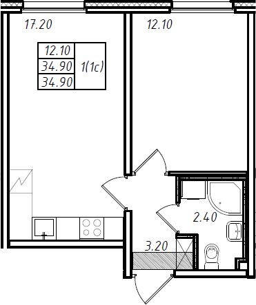 2Е-комнатная, 34.9 м²– 2