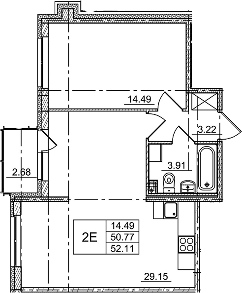 2Е-комнатная, 52.11 м²– 2