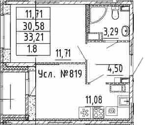 1-к.кв, 33.21 м²