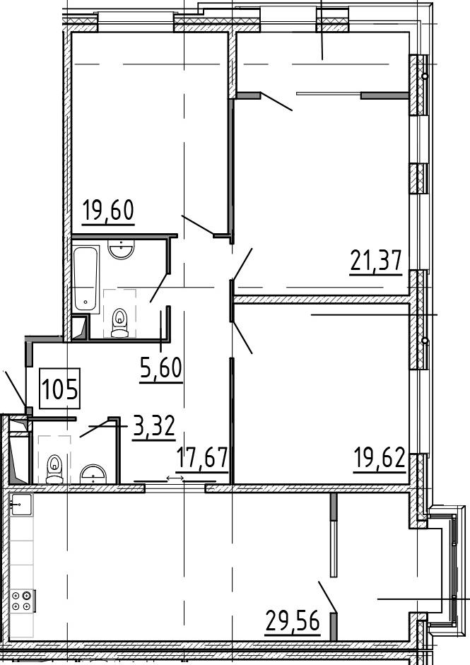 4-к.кв (евро), 131.54 м²
