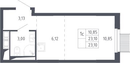 Студия, 23.1 м²