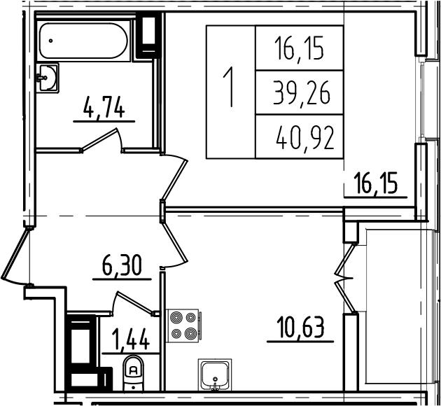 1-к.кв, 42.58 м²