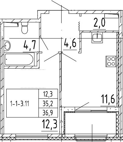 1-комнатная квартира, 36.9 м², 2 этаж – Планировка
