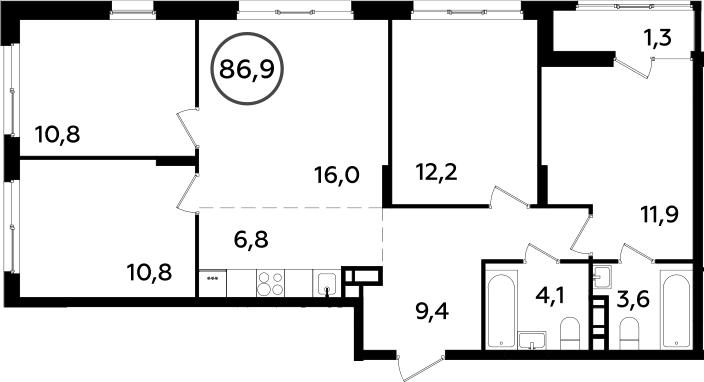 5Е-к.кв, 86.9 м²