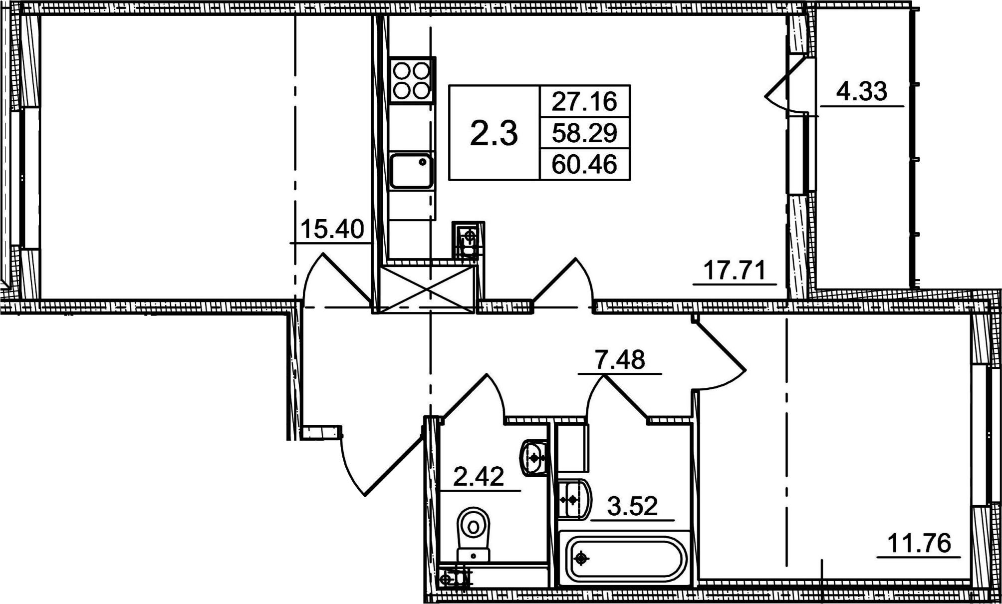 3Е-к.кв, 58.29 м²