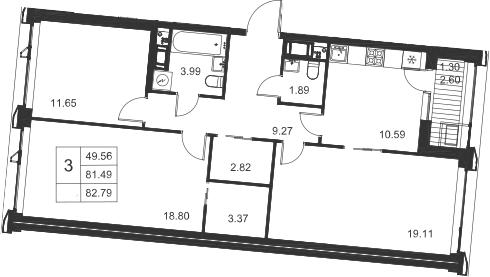 3-комнатная, 82.79 м²– 2