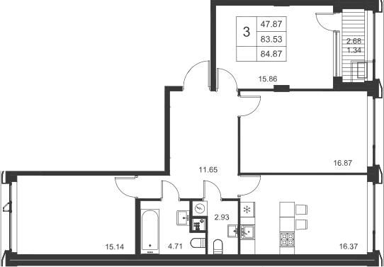3-к.кв, 84.87 м²