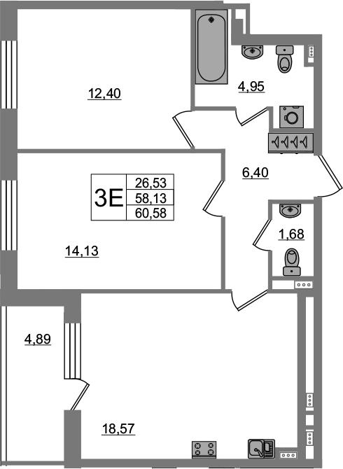 3-к.кв (евро), 63.02 м²