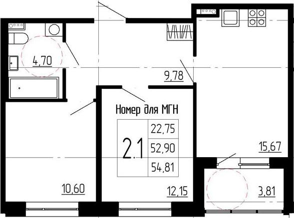 3Е-к.кв, 52.9 м²
