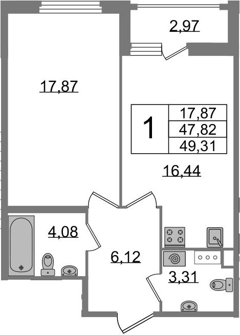 1-к.кв, 50.79 м²
