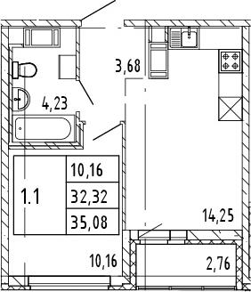2Е-комнатная, 35.08 м²– 2