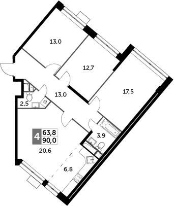 4Е-комнатная, 90 м²– 2